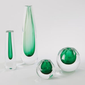 CUT GLASS VASE-EMERALD